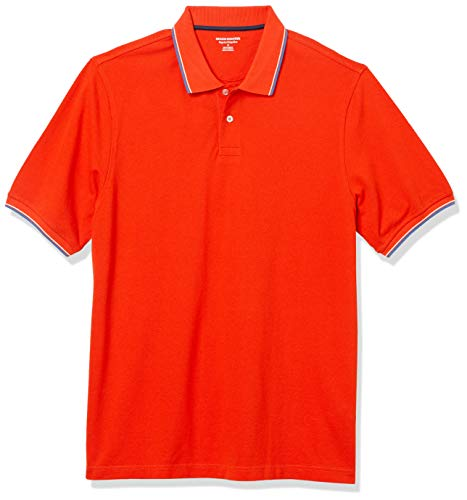 Amazon Essentials - Polo con Punta de piqué de algodón de Corte Regular para Hombre, Color Naranja/Blanco y Azul, Talla Mediana