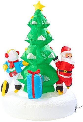 infactory außen Deko Weihnachten: Selbstaufblasendes XXL Weihnachtsbaum-Karussell, 150 cm (Aufblasbare Weihnachtsdeko)