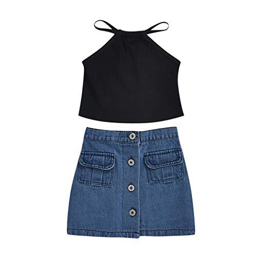 sunnymi Baby Sommer Kleidungsset,1-6 Jahre Kleinkind Kinder Baby Mädchen Solid Knit Strap Tops + Jeansrock Sommer Outfits Set