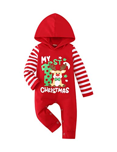 TUEMOS Christmas Romper Newborn Baby Boy Girl Clothes My First Christmas Print Stripe Hoodie Bodysuits Outfit Red