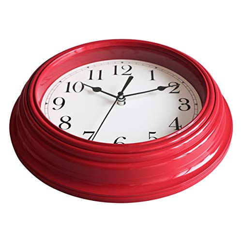 Foxtop Red Wall Clock 9 Inch Round Silent Non-Ticking Battery Operated Quality Quartz Quiet Easy to Read Decorative Clock for Kitchen Bedroom Home Decoration