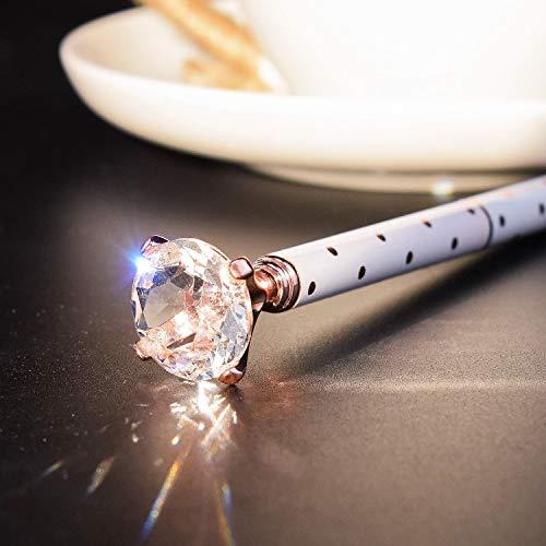 3Pcs Crystal Diamond Ballpoint Pen Bling Metal Ballpoint Pen Office Supplies, Rose Gold/Silver/White With Rose Polka Dots (Diamond pen-3pcs) Photo #5