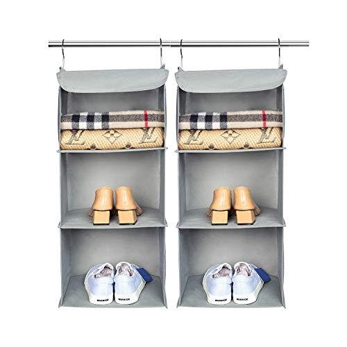 BrilliantJo 2 Stück Hängeregal Kleiderschrank Organizer, 3 Fächer hochwertige Hängeaufbewahrung mit Eisengestell Hängeregal Organizer Aufbewahrungssystem Set – Grau