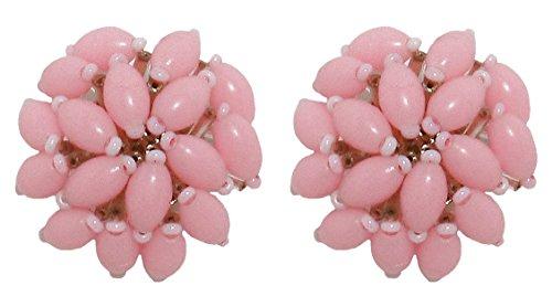 VINTAGE 3 PINK - Orecchini bottone con clip, senza buco, originali anni 60, in resina Rosa, nickel free, diametro cm. 3