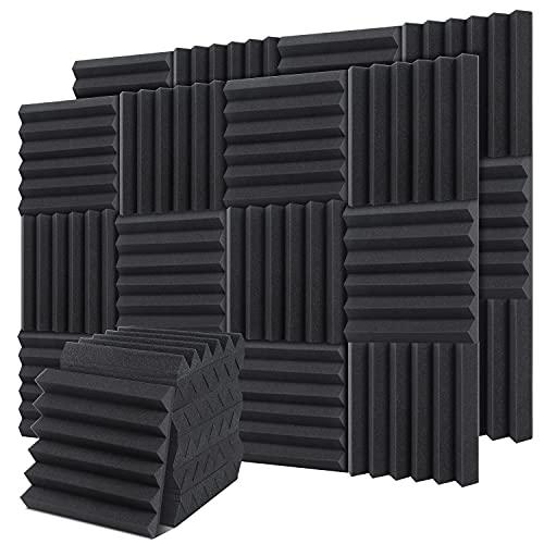 24 Stück Akustikschaumstoff Platten, Ohuhu Akkustik Platten Schall Dämmung für Tonstudio, Youtube Zimmer, Schallabsorbierende Schaum Akustik Schaumstoff, Schwarz - Größe 30,5 x 30,5 x 5 cm