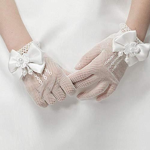 BZN Handschuhe Mädchen-Kind-Spitze-Perlen-Netz-Handschuhe Kommunion Blumen-Mädchen-Hochzeits-Zeremonie Zubehör One Size (weiß) (Farbe : Weiß)