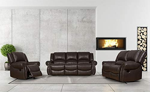 Best Greatime Leatherette Recliner Sofa Set (3 Pieces), Brown