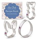 Ann Clark Cookie Cutters 3-Piece Easter Cookie Cutter Set with Recipe Booklet, Easter Bunny, Egg and Rabbit Head