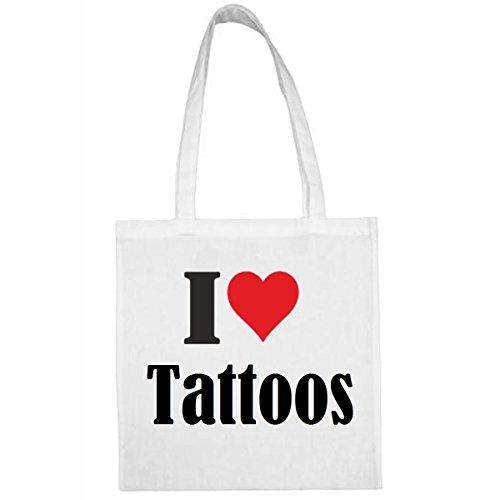 Tasche I Love Tattoos Größe 38x42 Farbe Weiss Druck Schwarz