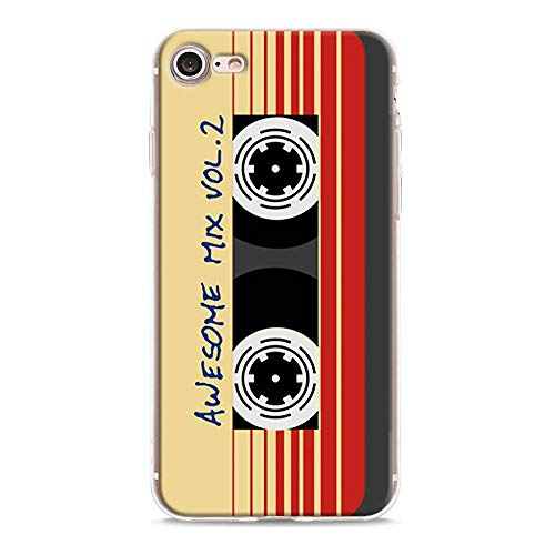 iPhone SE2 / iPhone 7 / iPhone 8 Silikon Hülle Retro Kassette Cover Vintage Magnetband Muster Weich TPU Klar Silikon Bumper Skin iPhone SE 2020 Tape Rot