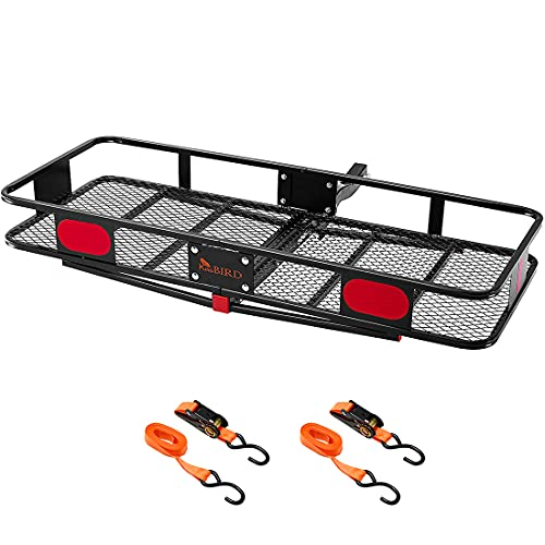 """KING BIRD Upgraded 60' x 24' x 6' Folding Hitch Mount Cargo Carrier, 500LBS Capacity Luggage Basket Fits to 2""""Receiver with Packing Straps"""