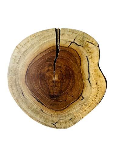 B-Ware Design Echtholz Untersetzer Baumscheibe Tablett aus Holz mit Jahresringen Brett Holztablett Tassenuntersetzer