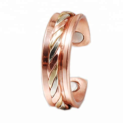 Therapy Magnetic Elegant Pure Copper Ring Original Healing Pain Relief for Arthritis, Carpal Tunnel, Joint Pain Relief Pure Copper Ring with Adjustable Size