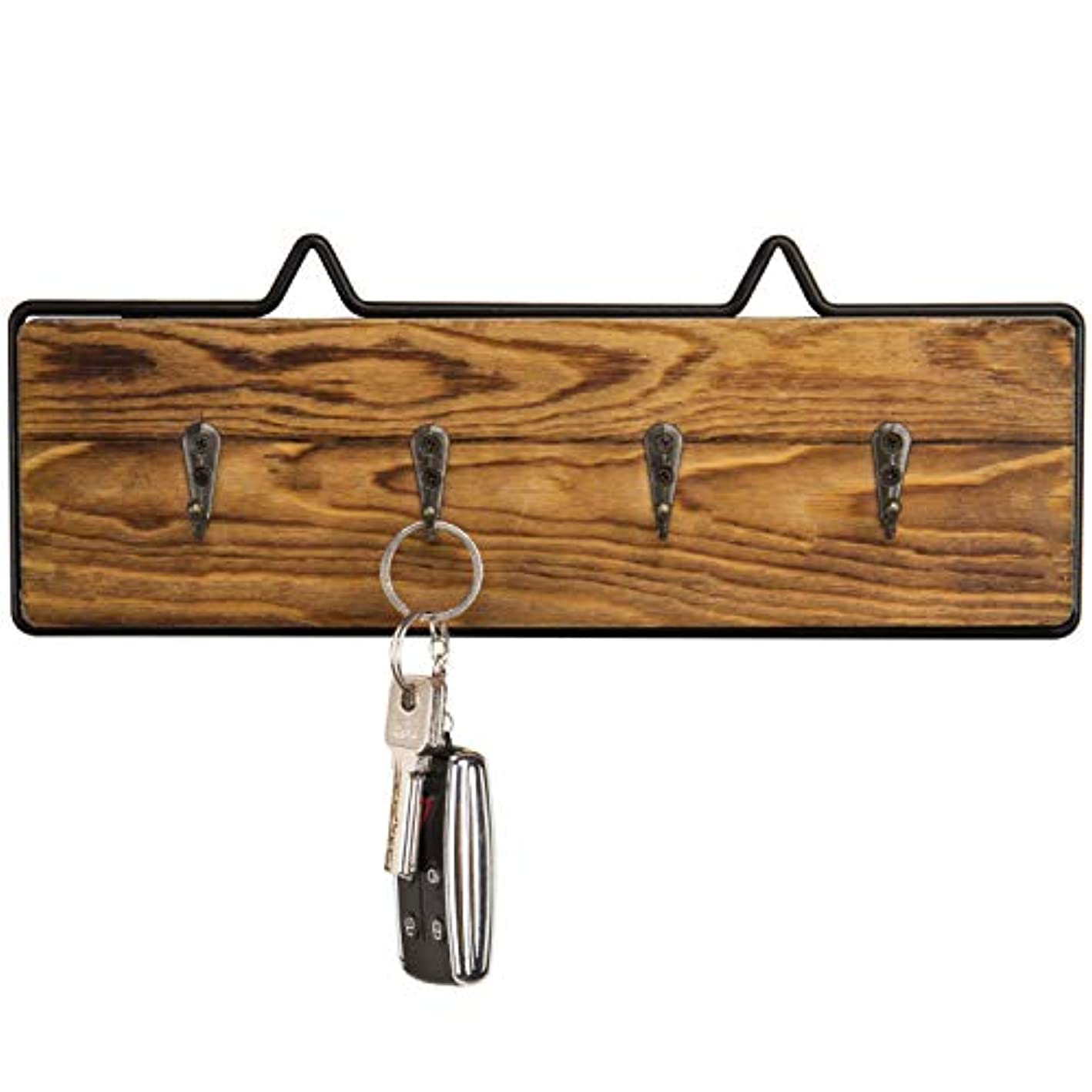 MyGift Rustic Wood & Wire Wall-Mounted 4-Hook Key Rack