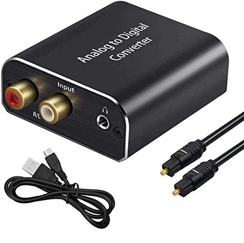 AMANKA Analog zu Digital Audio Konverter mit Optischem Kabel- Analog auf Digital Wandler RCA Cinch + 3.5mm Audio-Klinke zu Toslink/SPDIF Koaxial Audio Adapter für TV DVD Blu-Ray PS3 Xbox -Aluminium
