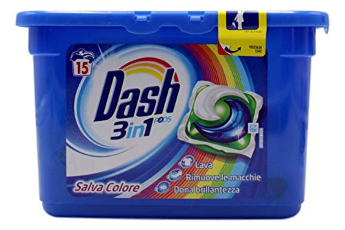 Dash Pods 3 in 1 Detersivo in Monodosi Salva Colore, 15 Lavaggi, Rimozione delle Macchie ed Alto Potere Pulente