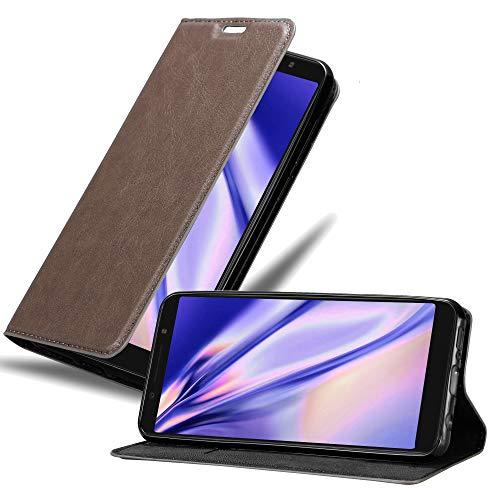 Cadorabo Hülle für Alcatel 3X (Nicht für 2019) in Kaffee BRAUN - Handyhülle mit Magnetverschluss, Standfunktion & Kartenfach - Hülle Cover Schutzhülle Etui Tasche Book Klapp Style