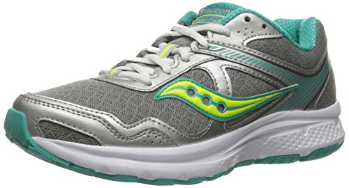 Saucony Women's Cohesion TR10 Trail Runner, Grey/Black/Blue, 6.5 M US