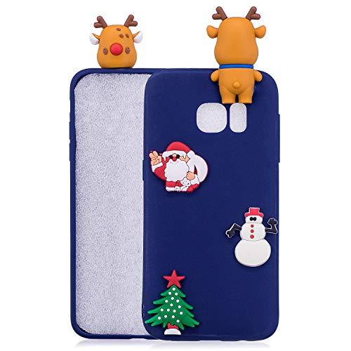 HongYong - Carcasa de silicona TPU para Samsung Galaxy S7 Edge, diseño de árbol de Navidad (azul)