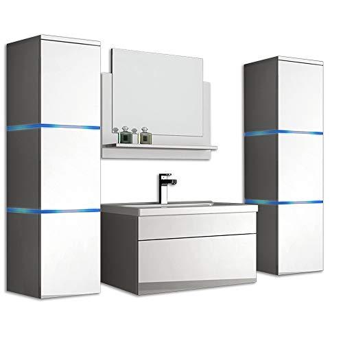 Home Deluxe - Badmöbel-Set - Wangerooge weiß - XL - inkl. Waschbecken und komplettem Zubehör - Breite Waschbecken: ca. 60 cm