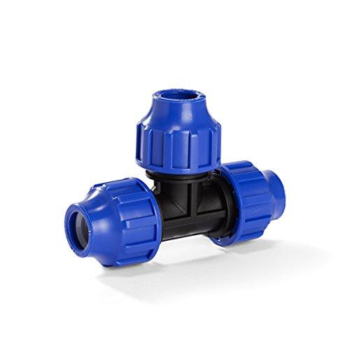 H2O-Flex PP-Fitting, Klemmverbinder - 25er T-Stück für PE-Rohr, 25 mm, DVGW