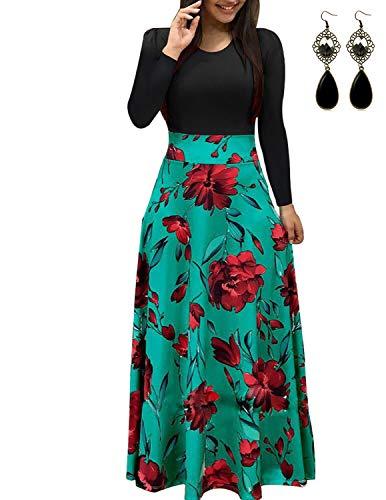 UUAISSO Mujer Vestido Fiesta Largo Manga Larga Floral Print Casual Verano Maxi Vestidos Playa Vacaciones Verde L