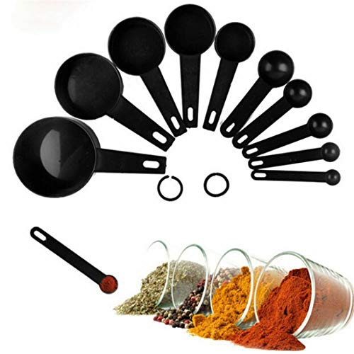 AMYGG Plastic 10 Piece Measuring Spoon Set, Black Plastic Measuring Spoons Cup W/Ring Holder - Baking and Cooking