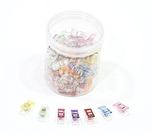 """ALL in ONE 100pcs Mixed Color Multipurpose Sewing Clips with Box for Sewing, Quilting, Crocheting, Crafting and Knitting Safety Clips (1.1""""x0.4""""x0.6""""-100pcs)"""