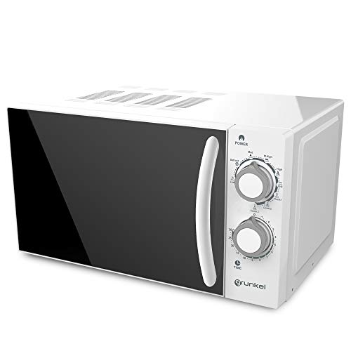 Grunkel - MWG-20SG - Microondas con Grill Blanco de 20 litros de Capacidad, 5 Niveles de Potencia y 3 de Combinado. Función descongelación y Temporizador hasta 30 Minutos - 800W - Blanco