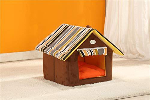SHANGHAIXIAOTONG Moda Funda de Rayas extraíble Alfombra Casa de Perro Nido Camas para Perros para Perros pequeños medianos Perrera Productos para Mascotas Casa Camas para Mascotas para Gatos, BOR