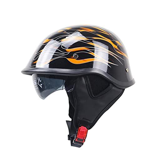 Casco de motocicleta medio casco certificado ECE/DOT casco de motocicleta de cara abierta para adultos hombres y mujeres casco de bicicleta ciclomotor scooter cruiser flame,XXL