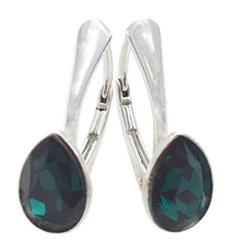 Crystals & Stones NEUHEIT - Tropfen - Wundervolle Ohrringe - Farbvarianten - Silber 925 Schön Damen Ohrringe mit Kristallen von Swarovski Elements - Wunderbare Ohrringe (Emerald)