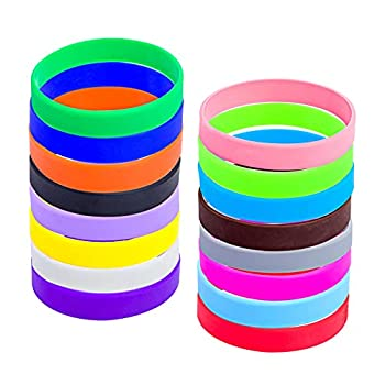 """16pcs Silicone Wristbands Rubber Bracelets for Sports Teams Games Party Favors Cup Markers Customizable  16 Color Mixed Youth/7"""""""