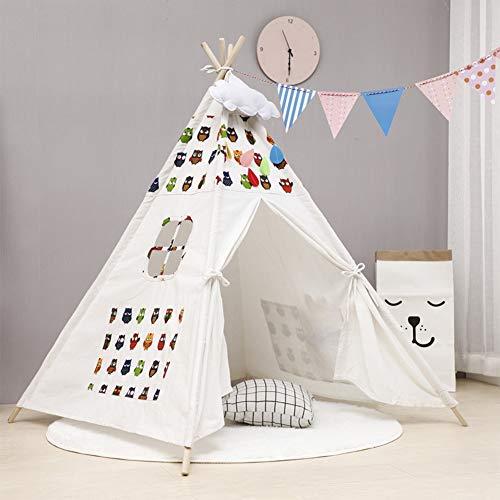 HB.YE Tienda de campaña Tipi Wigwam para niños, plegable, para niños, para juegos de bebé, para niños, para interior y exterior (búho)