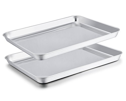 TeamFar Baking Sheet Set of 2, Stainless Steel Baking Pans Tray Cookie Sheet, Non Toxic & Healthy, Mirror Finish & Rust Free, Easy Clean & Dishwasher Safe
