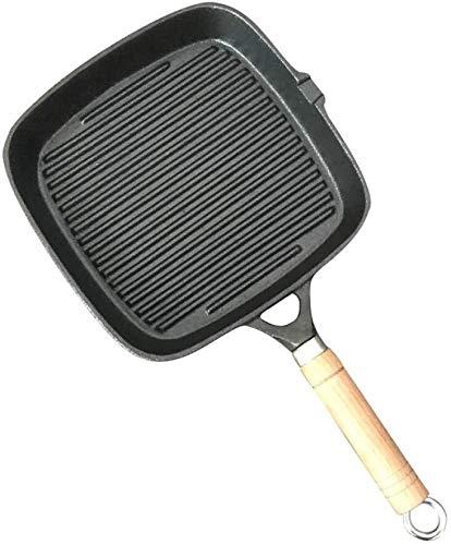 Square Grill Pan, premium fundido Hierro plancha antiadherente sartén Pan Pesado Hierro la plancha sartén sartenes for Gas, Inducción y eléctrica Cocina con mango, Negro lucar