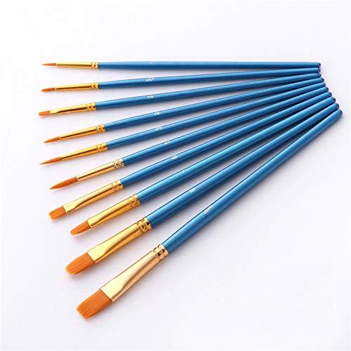 10 sztuk/zestaw nylon artysta pędzel profesjonalny akwarela akrylowy drewniany uchwyt do malowania szczotki sztuki artykuły papeterii (Color : 1)