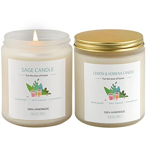 Sage Candles and Lemongrass for Cleansing House, 2 X 8Oz 100Hrs. Burning, Soy Wax Sage Scented...