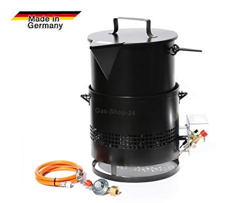 Bitumenkocher Hockerkocher - Gaskocher 8 KW + Masseeimer 15 L Gasschlauch u. Druckminderer + SBS Kocher Asphaltkocher f Vergussmasse