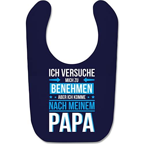 Shirtracer Sprüche Baby - Ich versuche mich zu benehmen aber ich komme nach meinem Papa blau - Unisize - Navy Blau - baby geschenke jungs - BZ12 - Baby Lätzchen Baumwolle