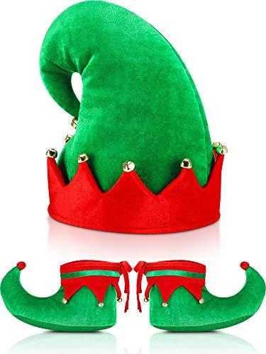 SATINIOR Zapatos de Elfo de Santa de Navidad y Sombrero de Rojo y Verde Set de Accesorios de Disfgraz (28 cm/ 11 Pulgadas)