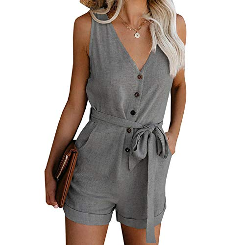 YFDYG Short Femme,Gray V-Neck Jumpsuit Summer Ladies Indoor Lace Up Tassel Pants Casual Beach Drawstring Top &Amp; Solid Color Trousers Girl Running Gym Shorts,XL