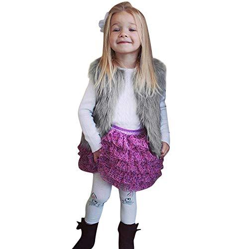 Conjunto de trajes para niñas de 0 a 6 años, ropa cálida de invierno de piel sintética, chaleco grueso, bonito regalo de Pascua, juego de ropa de bebé para 3 a 4 años (gris)