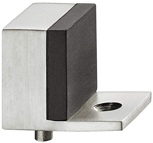JUVA Design Boden-Türpuffer Edelstahl matt Türstopper eckig mit Zapfen - Modell H8046   Gummipuffer 5 mm   Tiefe: 32 mm   1 Stück - Stopper zum Schrauben