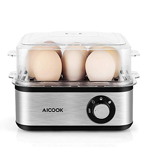 Egg Cooker, AICOOK Rapid Egg Boiler 8 Capacity Stainless Steel Electric Egg Maker with Auto Shut-Off for Soft, Medium, Hard Boiled Eggs, Noise-Free, BPA-FREE, 500W