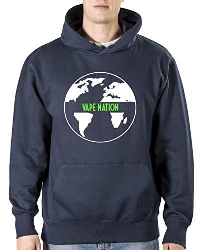 Comedy Shirts Vape Nation Globus Sweat-shirt à capuche pour homme avec capuche et poche kangourou à manches longues - Bleu - XL