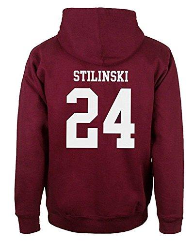 ShallGood Herren Casual Mode Kapuzenpullover Lacrosse Hoodie Wolf 24 Teen Stilinski Sweatshirt Kordelzug Pullover Tops Rot STILINSKI 24 EU L