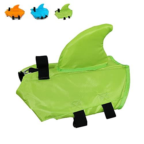 Snik-S Dog Life Jacket- Preserver with Adjustable Belt, Pet Swimming Shark Jacket for Short Nose Dog (Pug,Bulldog,Poodle,Bull Terrier,Labrador) (Green, Medium)