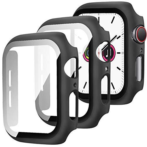 Miimall [2 Stück] Schutzfolie Kompatibel mit Apple Watch Series 3/2/1, iWatch 38mm Schutzhülle, Sehr stark PC Case + Panzerglas Displayschutz, All-Around Hülle für Apple Watch Series 3/2/1 38mm