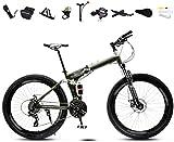 Bicicletas 24-26 pulgadas Peso ligero plegable de MTB Bike, plegable for mujer for hombre de la bici de la bicicleta, 30 velocidad bicis de velocidad variable, doble freno de disco 5-25 (Color: Verde,